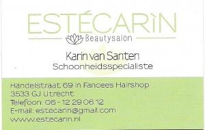 Vanaf heden kunt U bij ons ook terecht voor een schoonheidsbehandeling ! Binnenkort is er ook een mogelijkheid voor voetverzorging. Voor alle informatie en prijzen kunt U contact opnemen op telnr. 0612290612 of op de website www.estecarin.nl